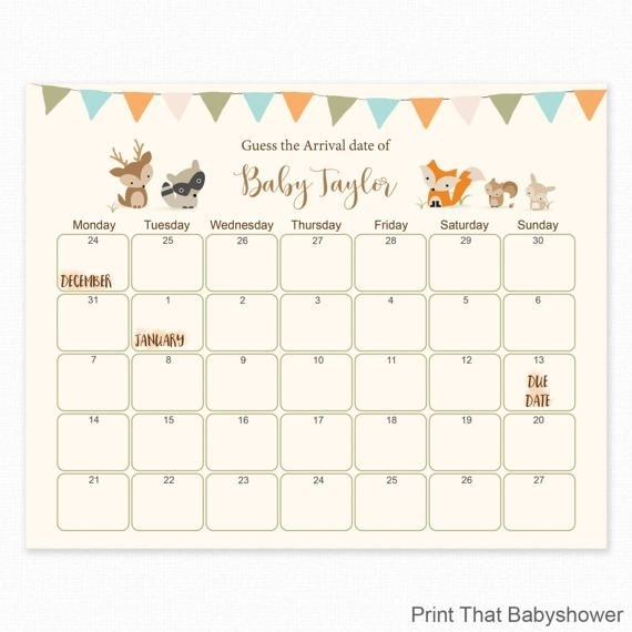 Woodland Baby Shower - Guess The Due Date - Baby Shower Games, Baby Shower Birthday Prediction