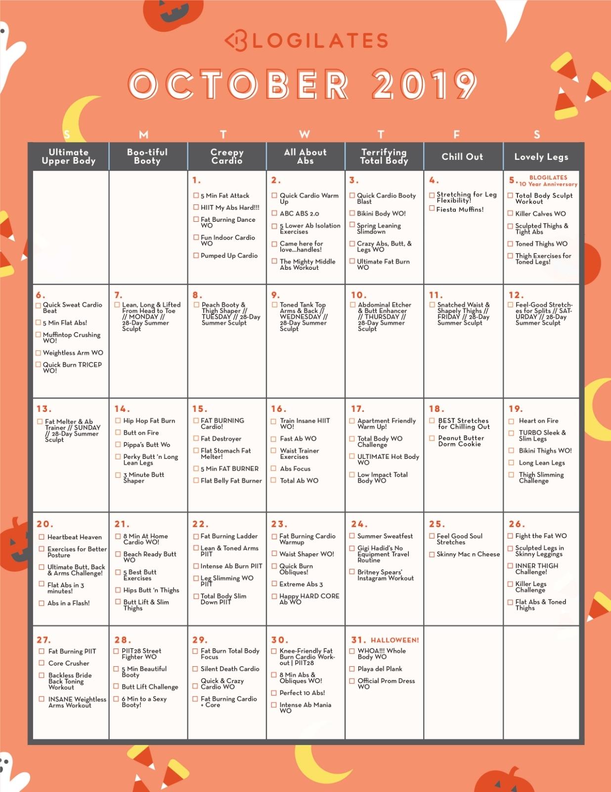 Your October Workout Calendar! | 46 Of 90 – Blogilates