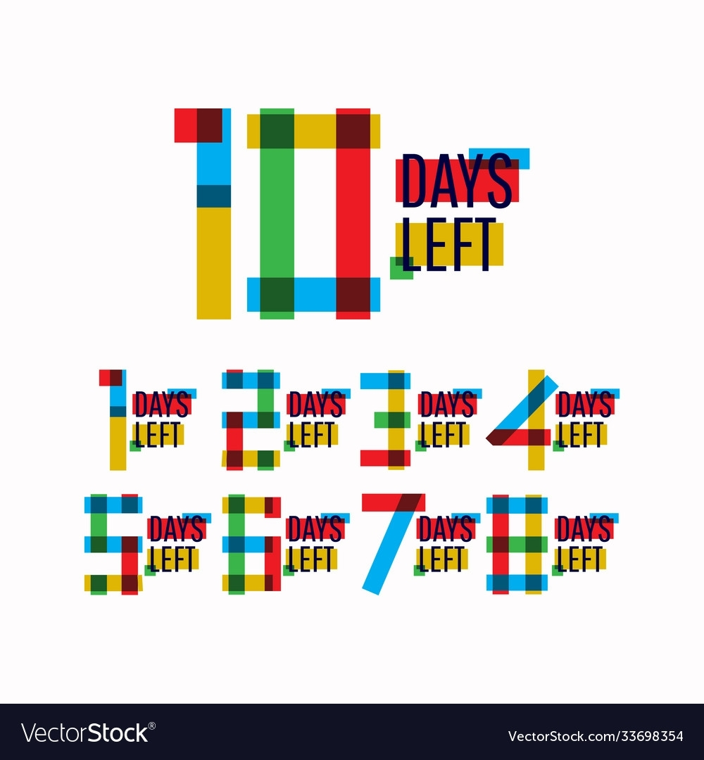 10 Days Left Number Template Design Royalty Free Vector