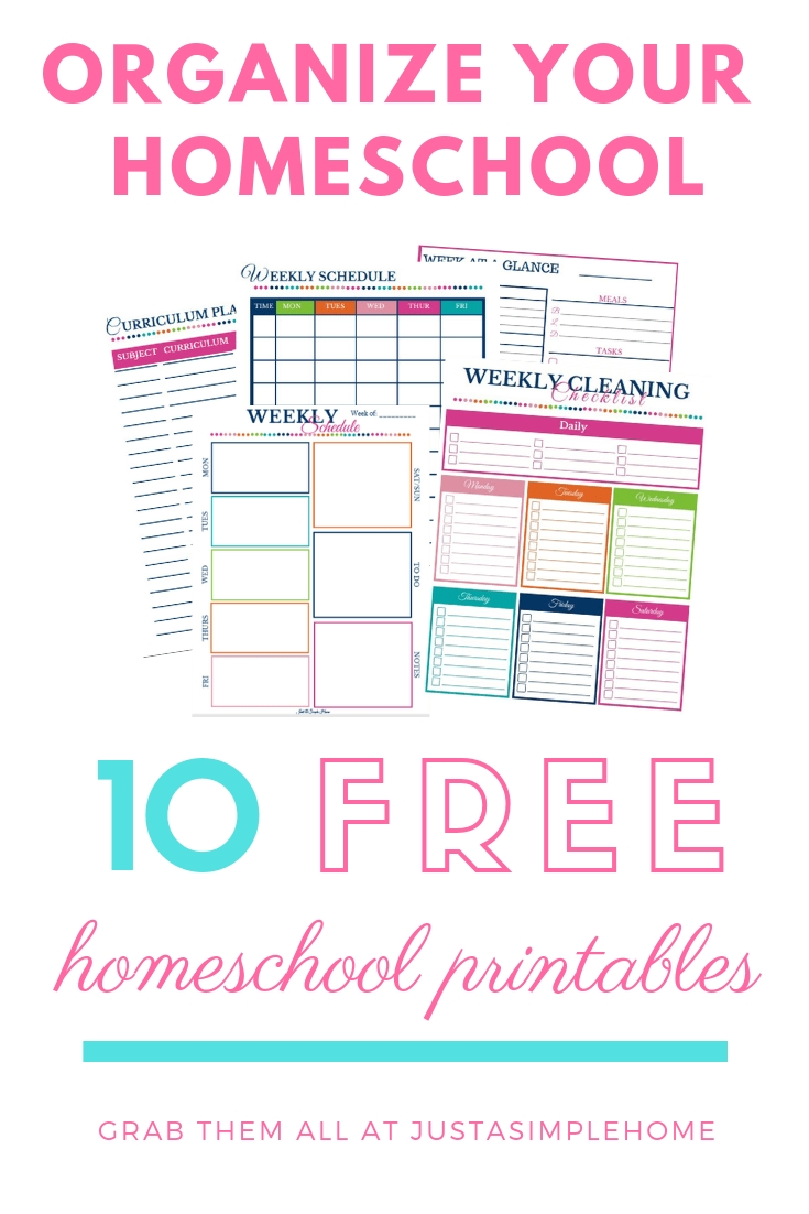 10 Days Of Homeschool Printables - Just A Simple Home