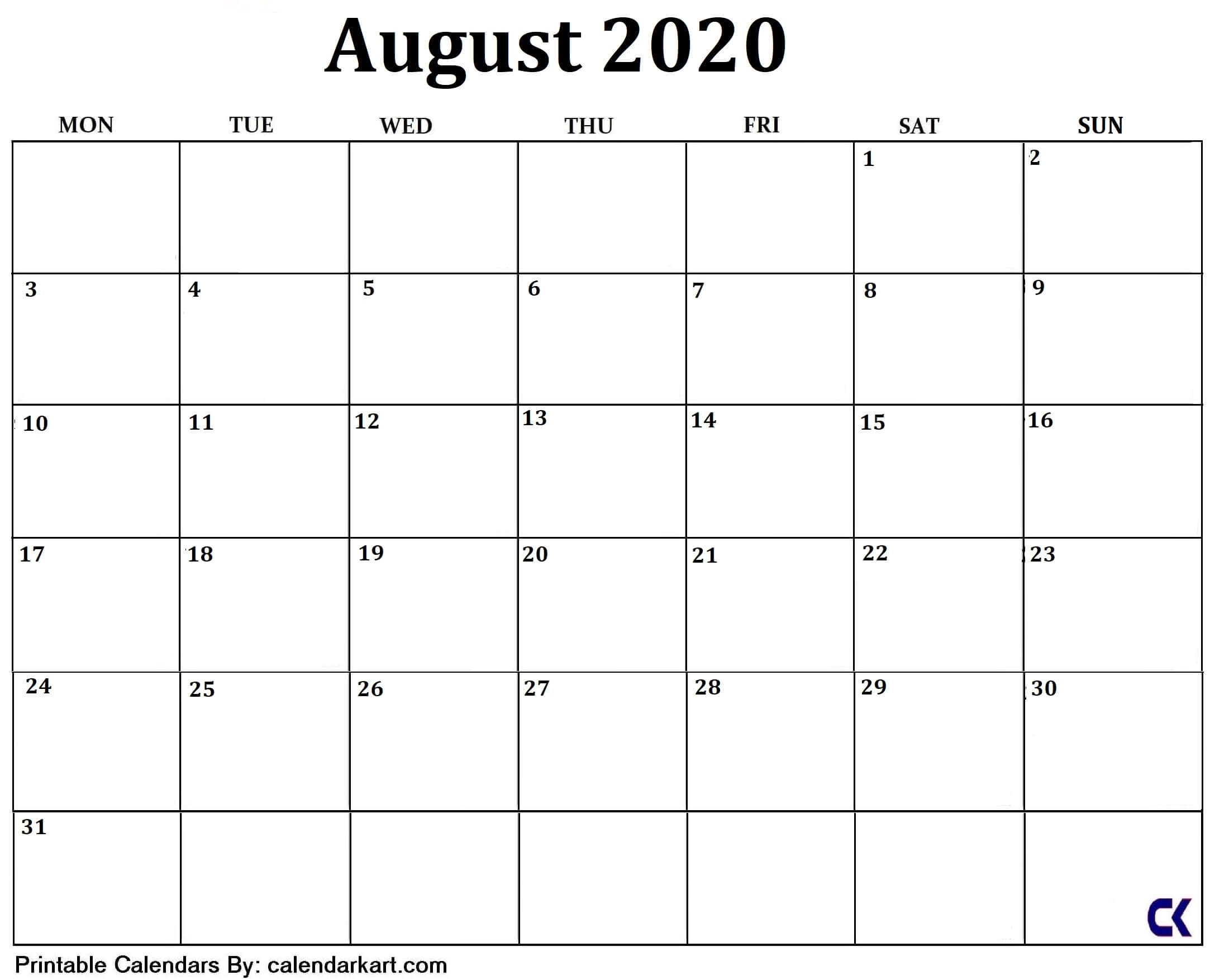 10 Free Printable Cute And Stylish August 2020 Calendar