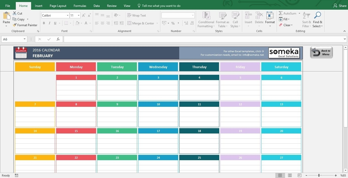 12 Month Training Calendar Template | Excel Calendar