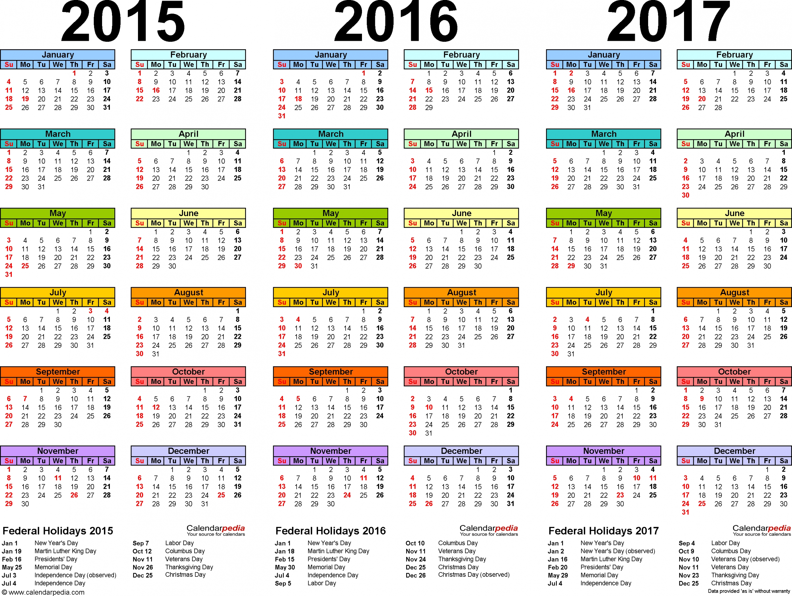 2015/2016/2017 Calendar - 4 Three-Year Printable Pdf