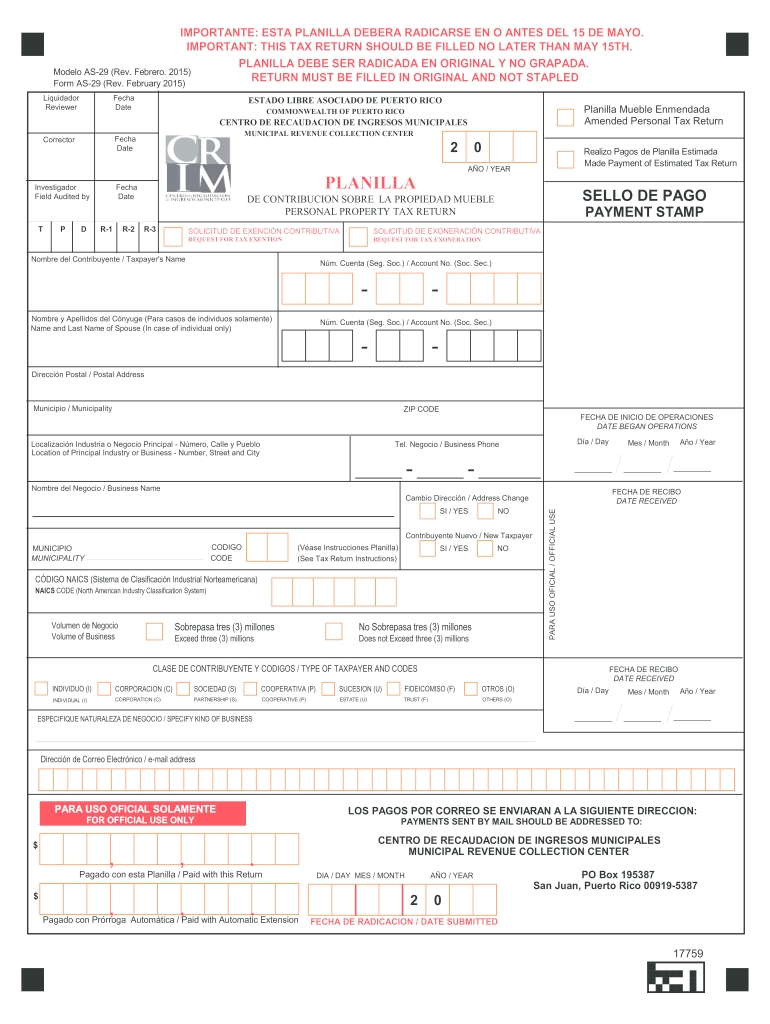 2015-2021 Form Pr As-29 Fill Online, Printable, Fillable