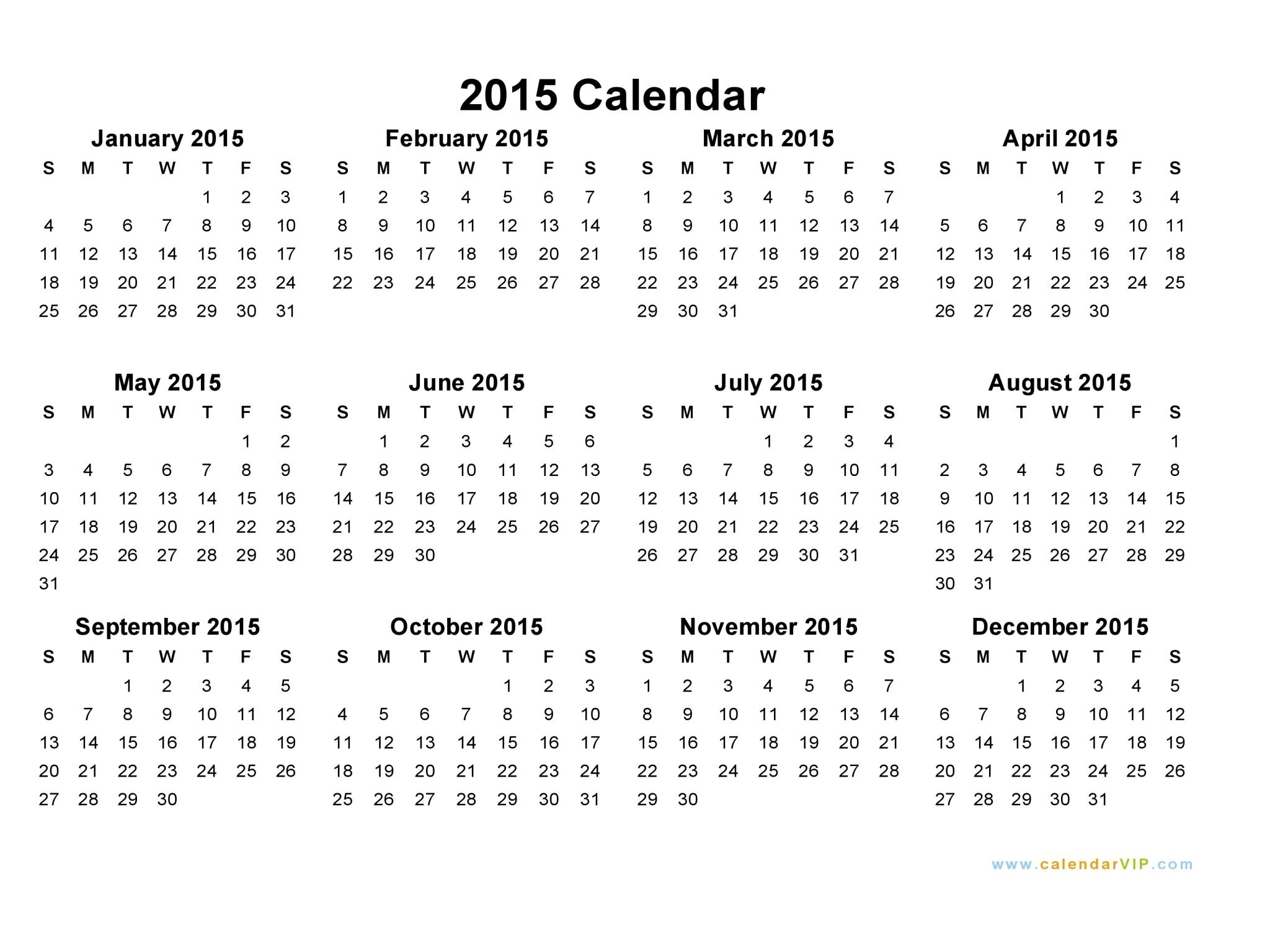 2015 Calendar - Blank Printable Calendar Template In Pdf