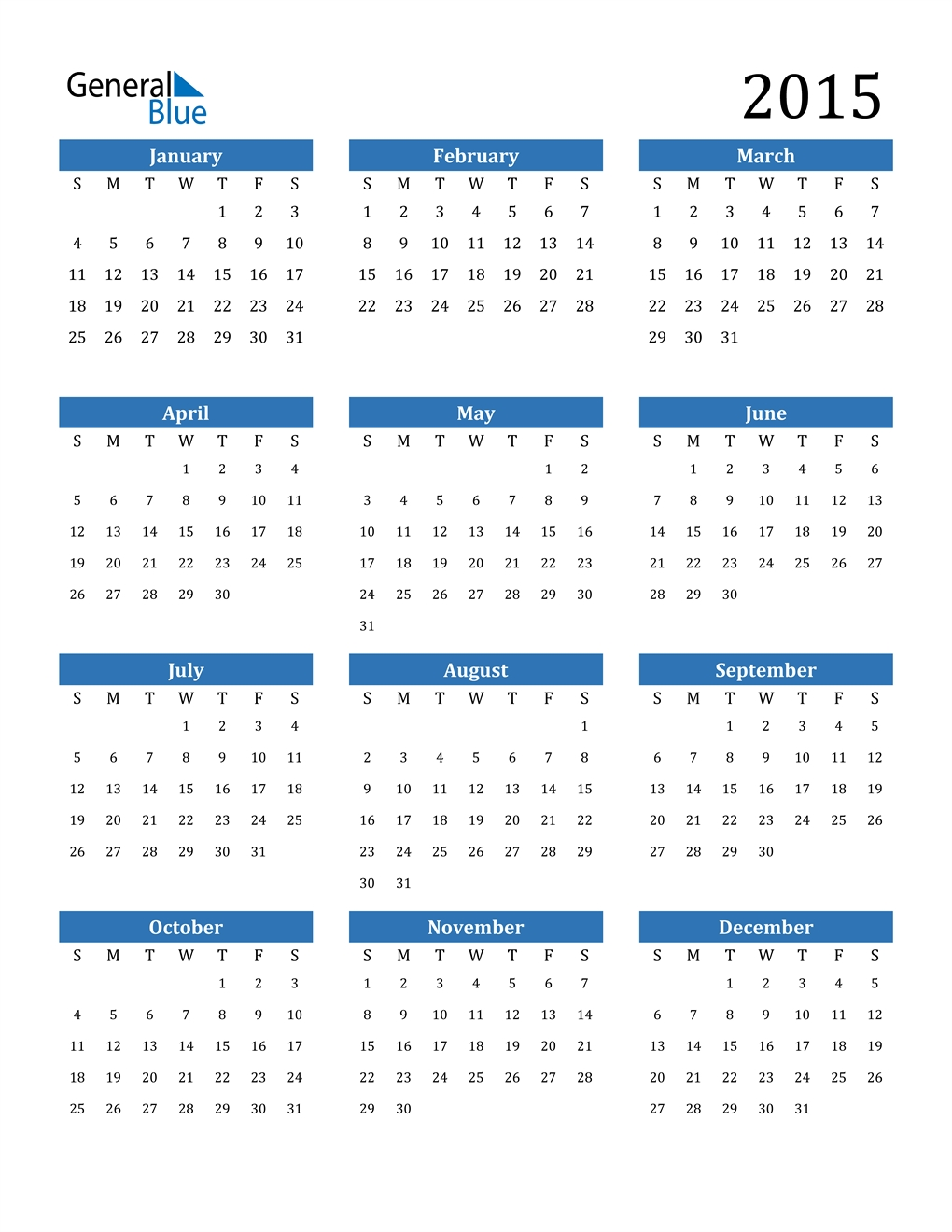 2015 Calendar (Pdf, Word, Excel)
