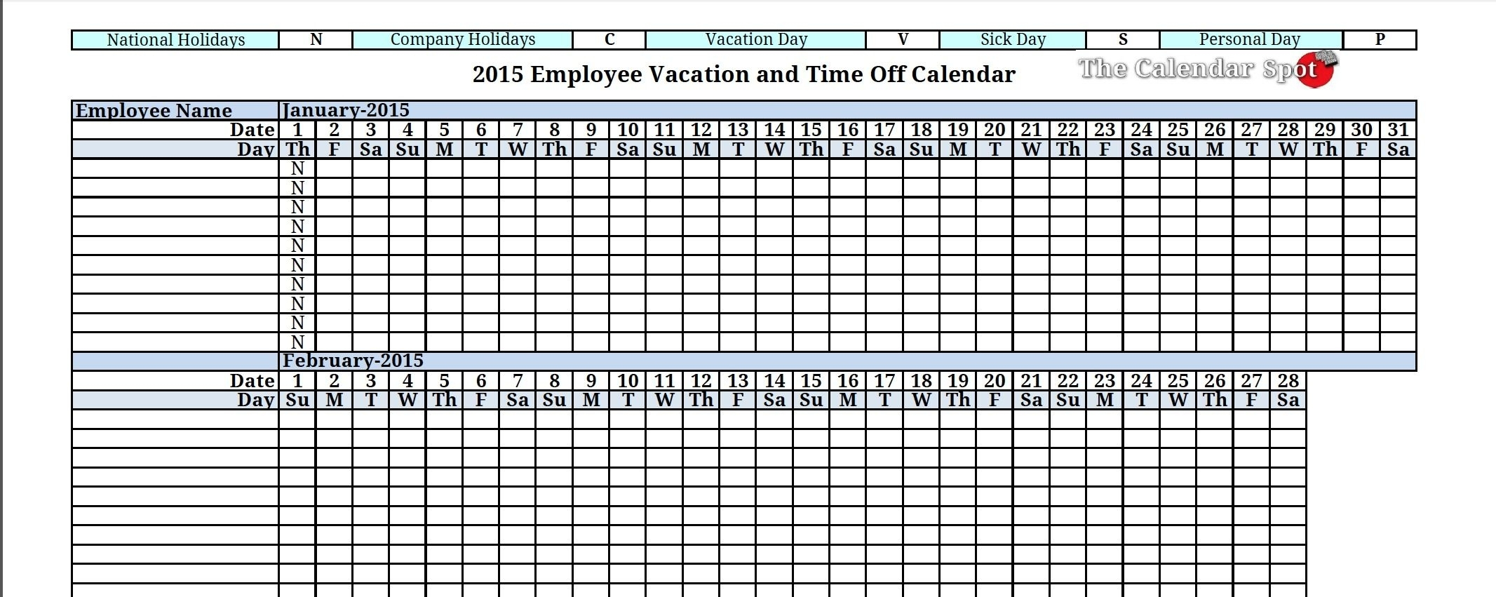2015 Employee Vacation Tracking Calendar Download | The