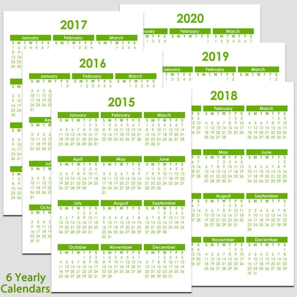 2015 To 2020 Yearly Calendar – 8 1/2″ X 11″ | Calendar