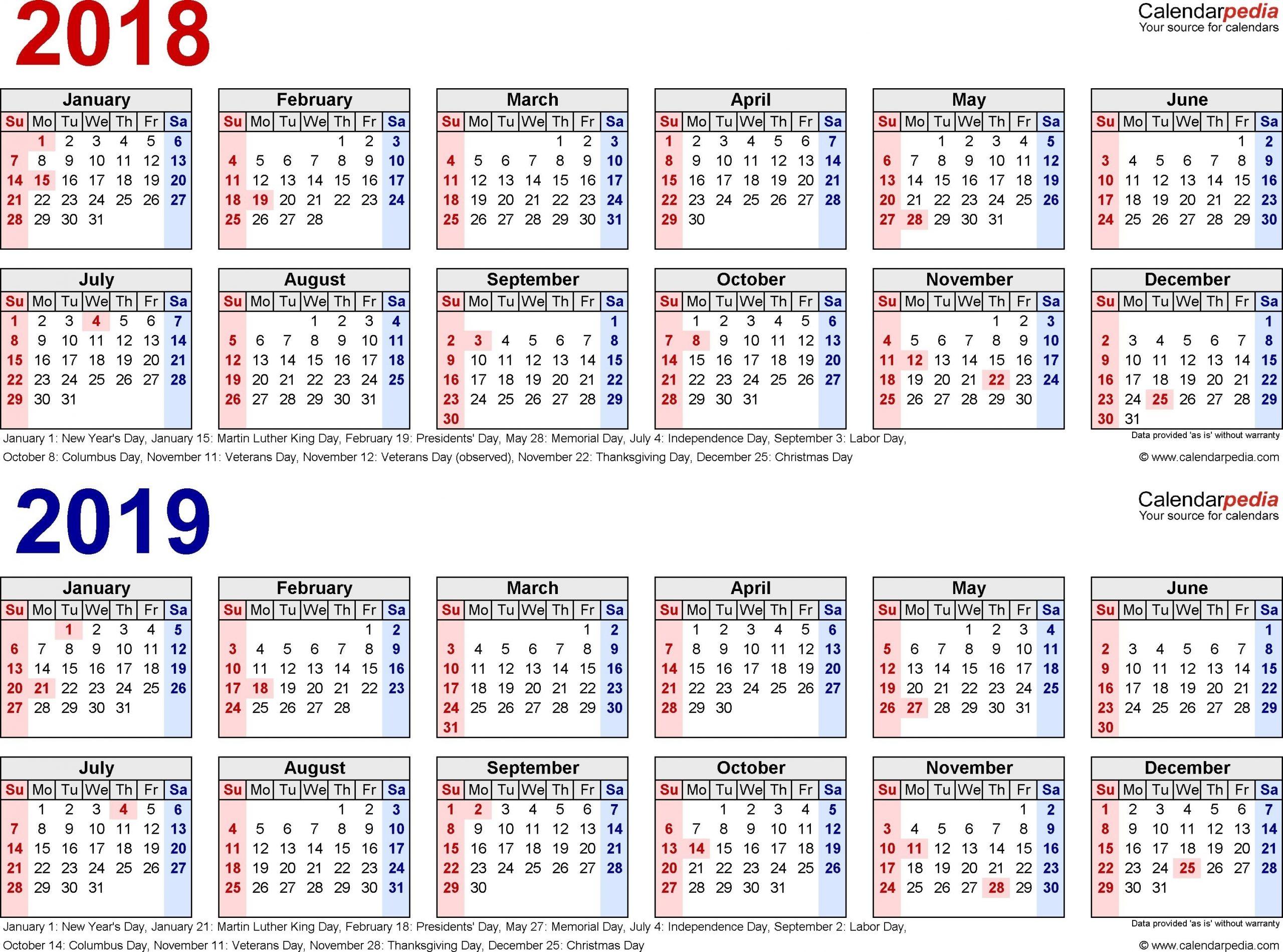 2018-2019 Calendar - Free Printable Two-Year Pdf Calendars