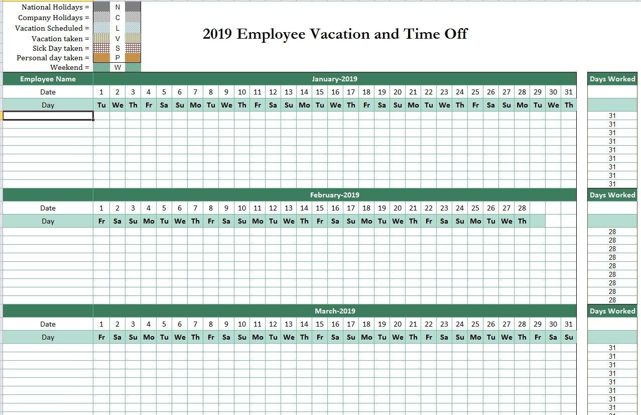 2019 Employee Attendance Tracking Calendar | Attendance