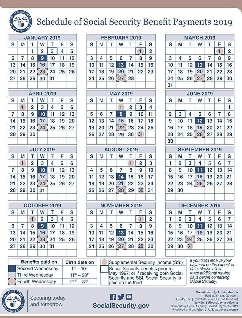 2019 Social Security Payment Schedule | Smith Godios Sorensen