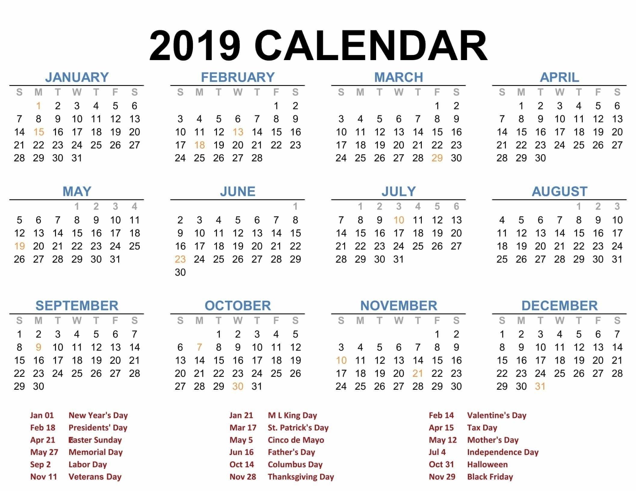 2019 Yearly Calendar Printable 8X11 August | Calendar Format