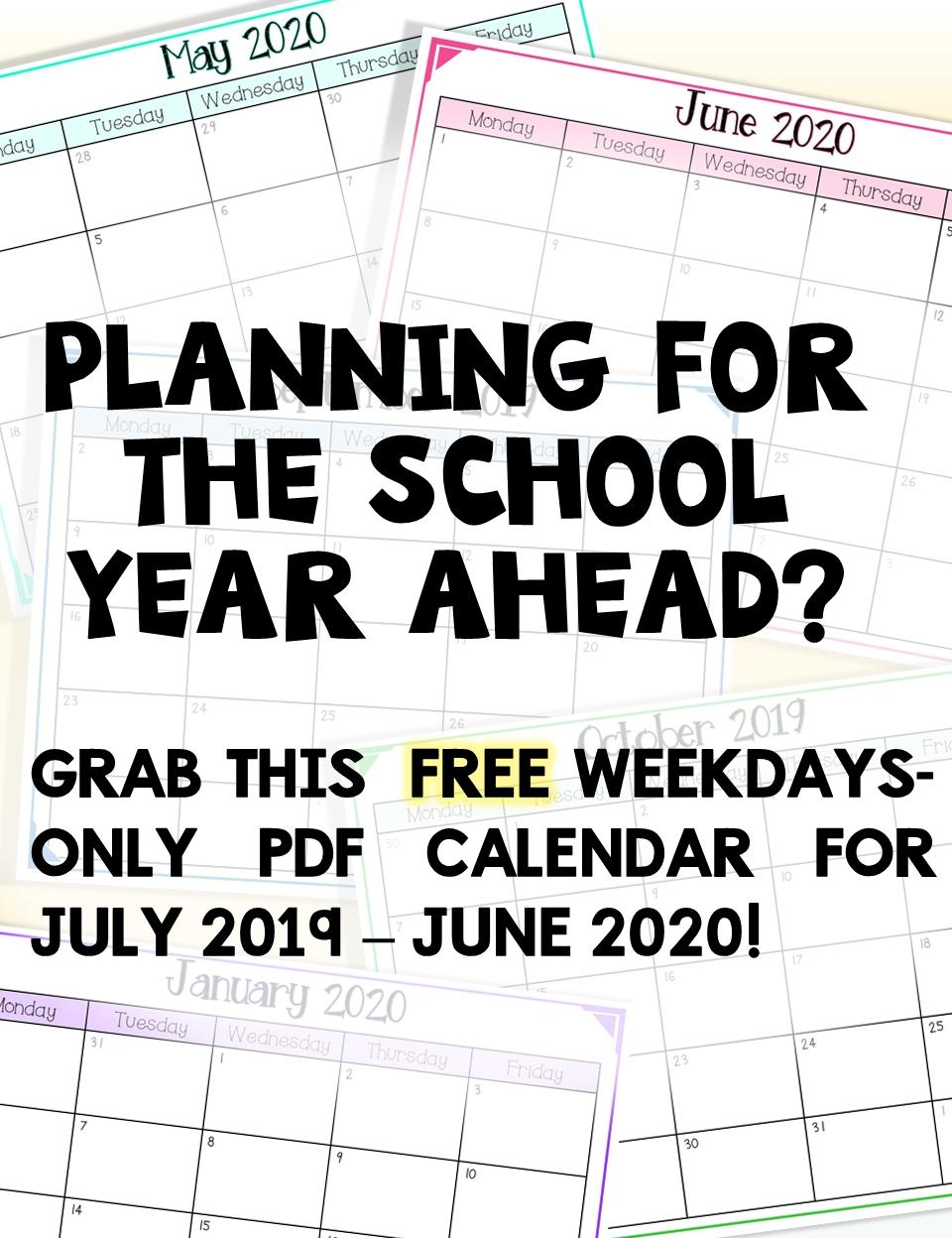 2020-2021 Free School Year Calendar (Weekdays Only) | School