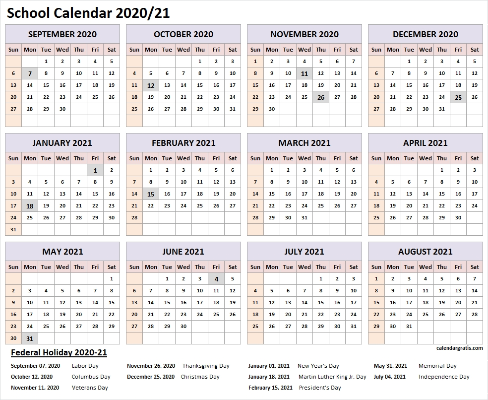 2020-2021 School Calendar Template | Academic Calendar 2020