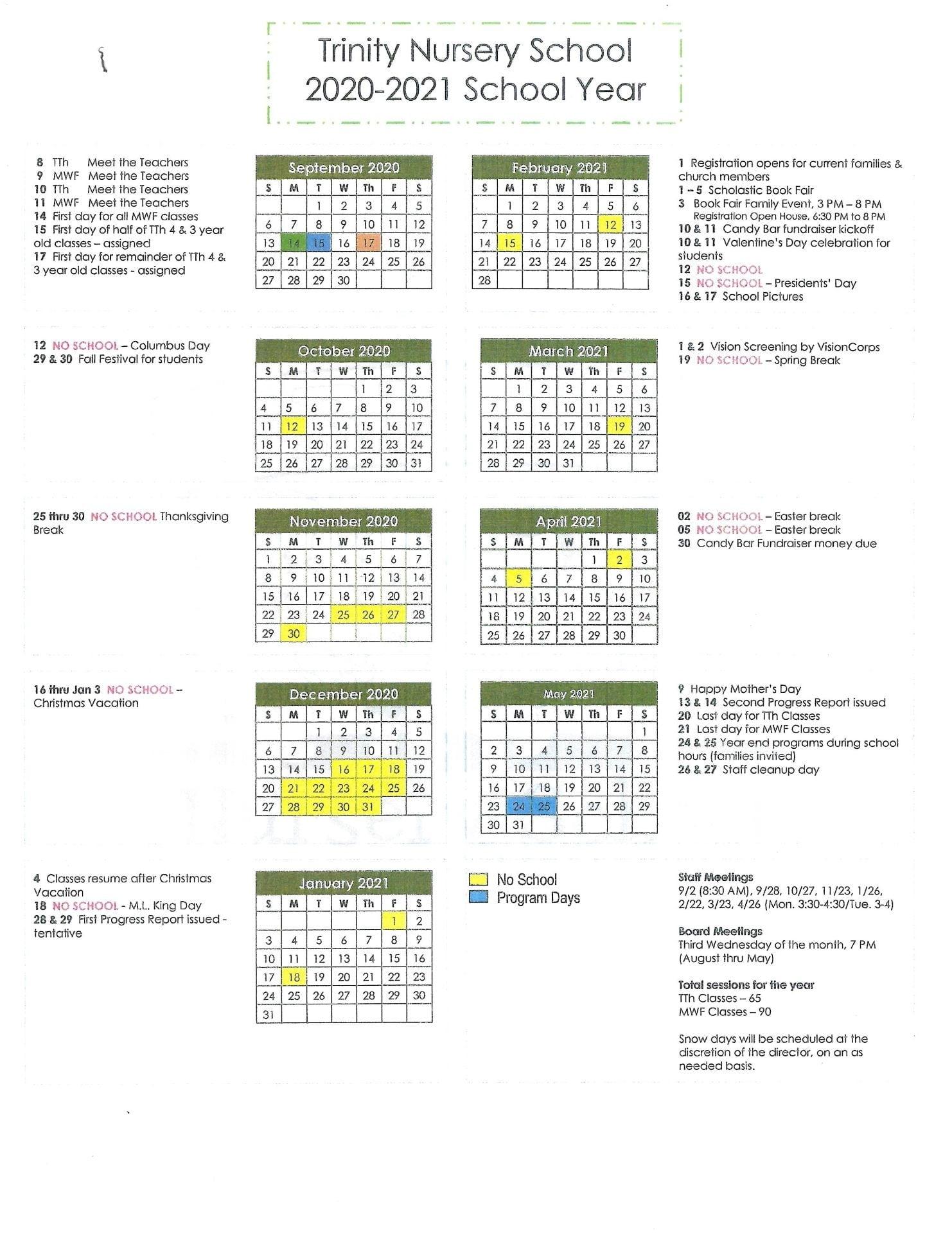 2020 -2021 School Year Calendar | Trinity Nursery News