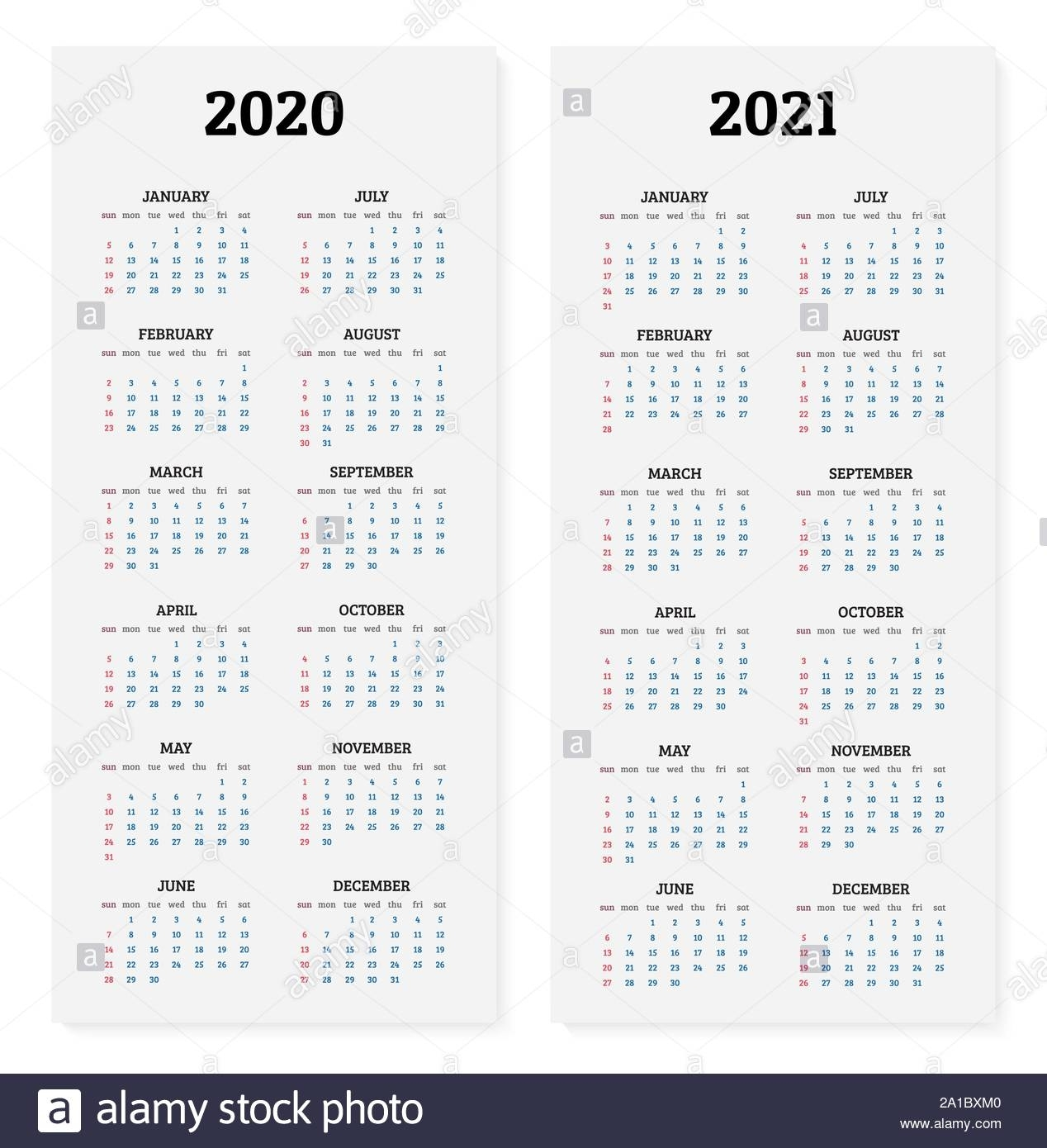 2020 And 2021 Annual Calendar Vector Illustration Stock