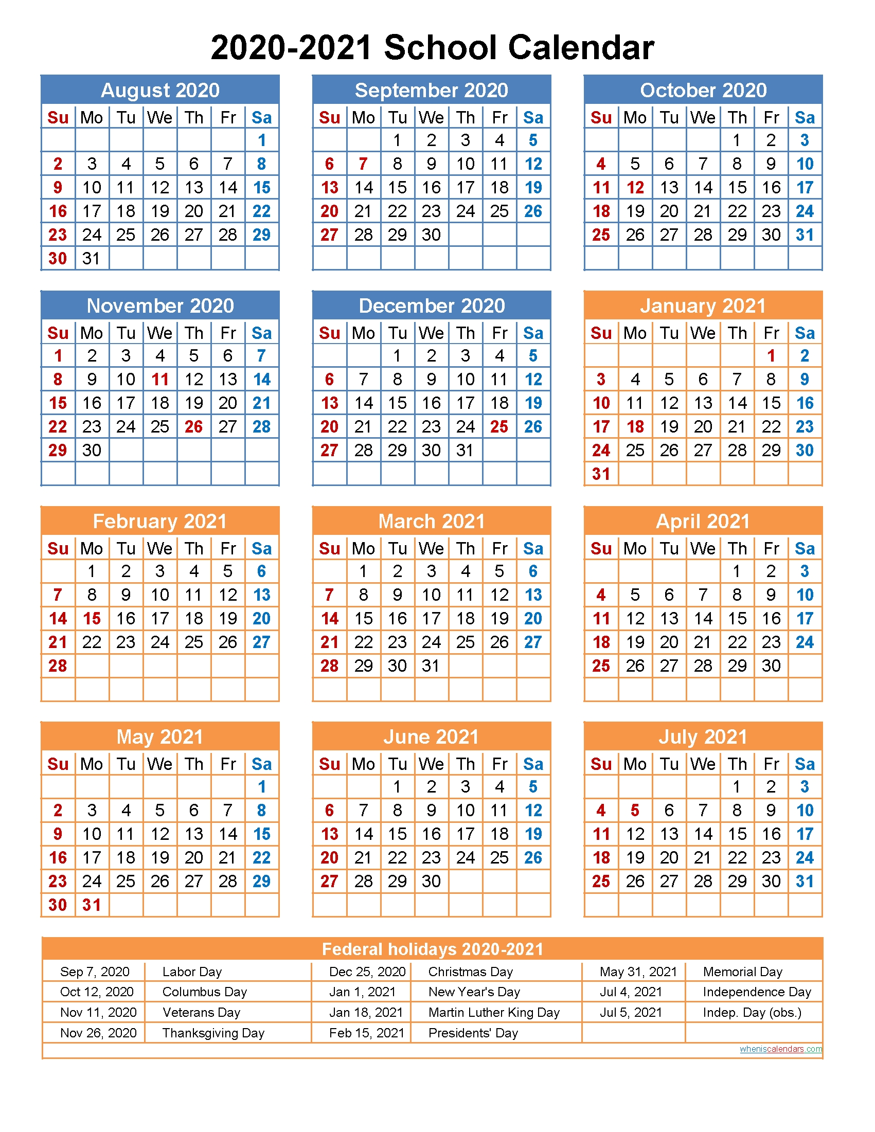 2020 And 2021 School Calendar Printable (Portrait)- Template