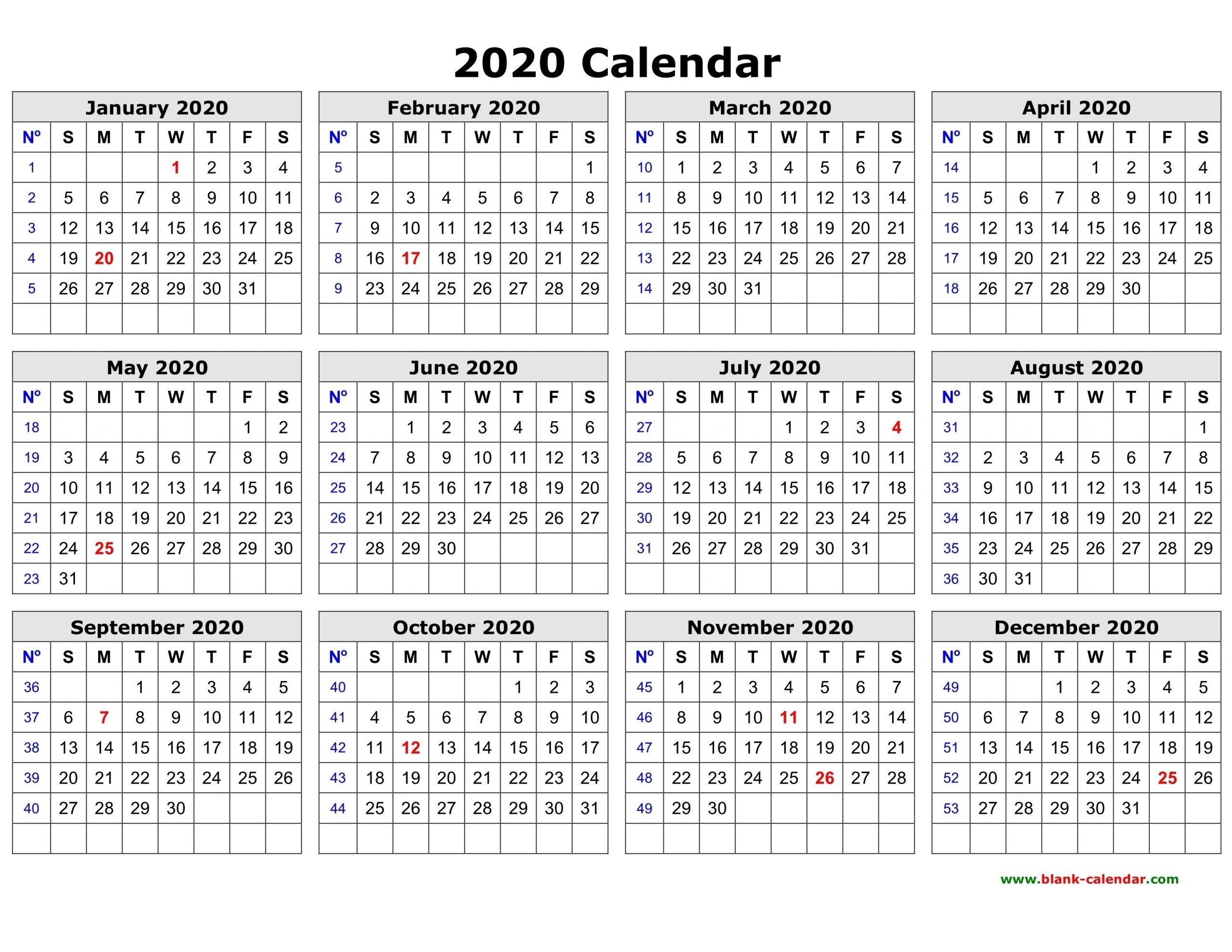 2020 Blank Printable Calendars – Delightful To Be Able To My