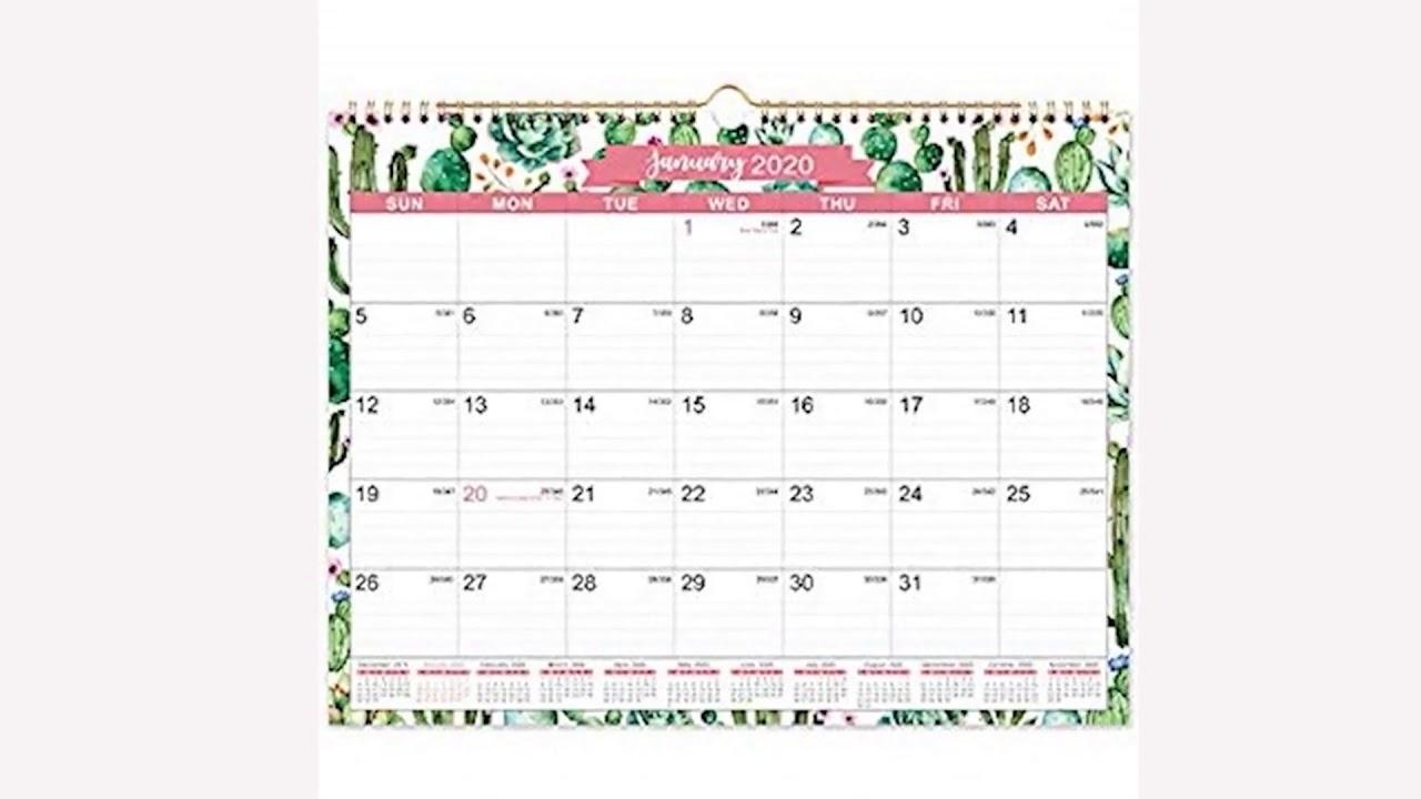 2020 Calendar - 12 Monthly Wall Calendar With Julian Date