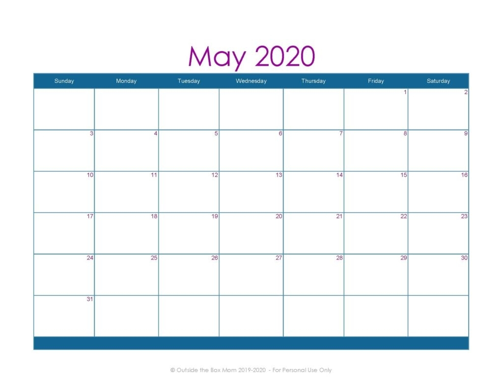 2020 Free Printable Monthly Calendar For Moms - Working Mom