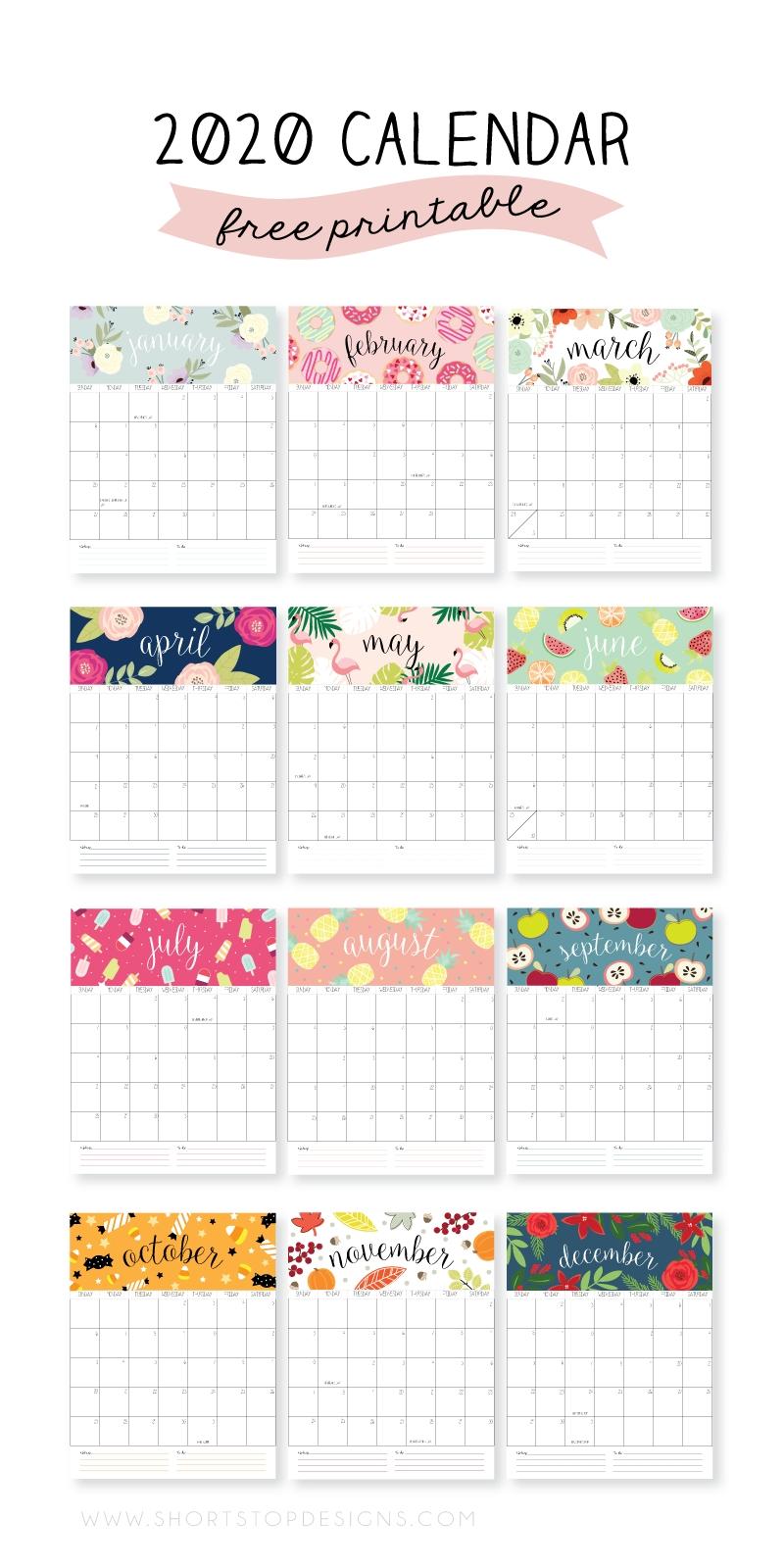 2020 Printable Calendar – Short Stop Designs