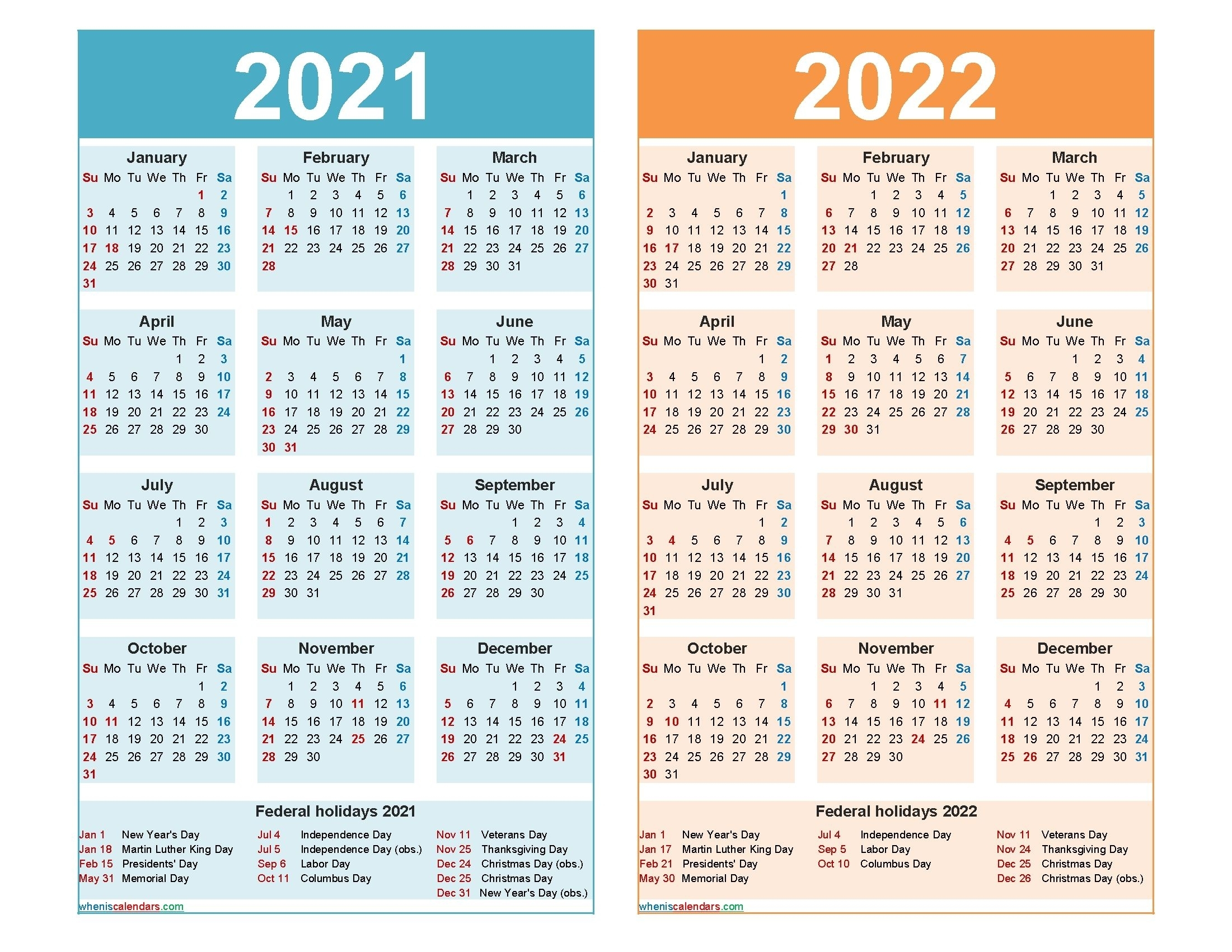 2021 And 2022 Calendar Printable Word, Pdf – Free In 2020