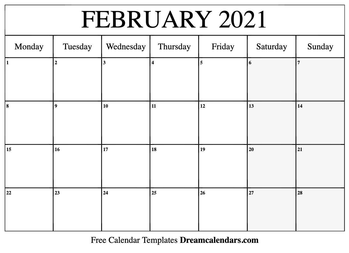 2021 Calendar February Template In 2020 | Calendar Word