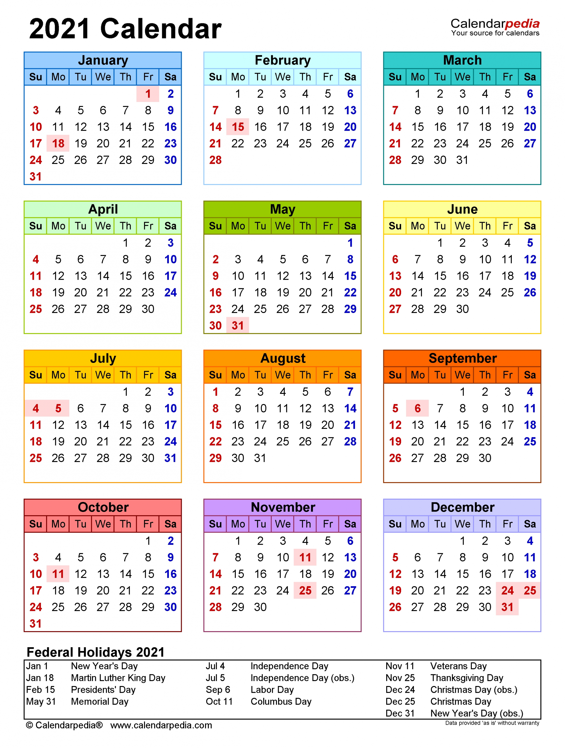2021 Calendar - Free Printable Word Templates - Calendarpedia