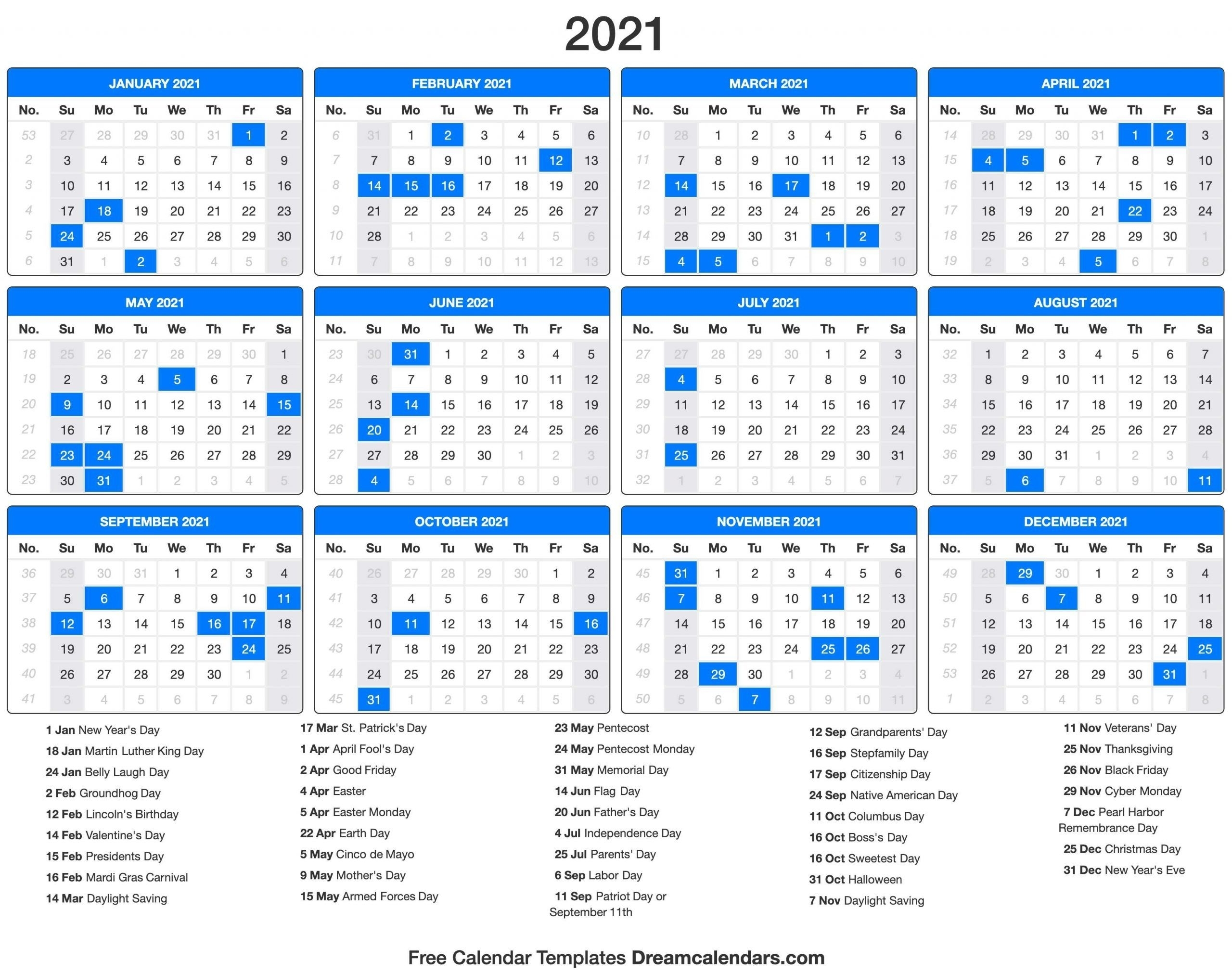 2021 Calendar In 2020 | Printable Calendar Template