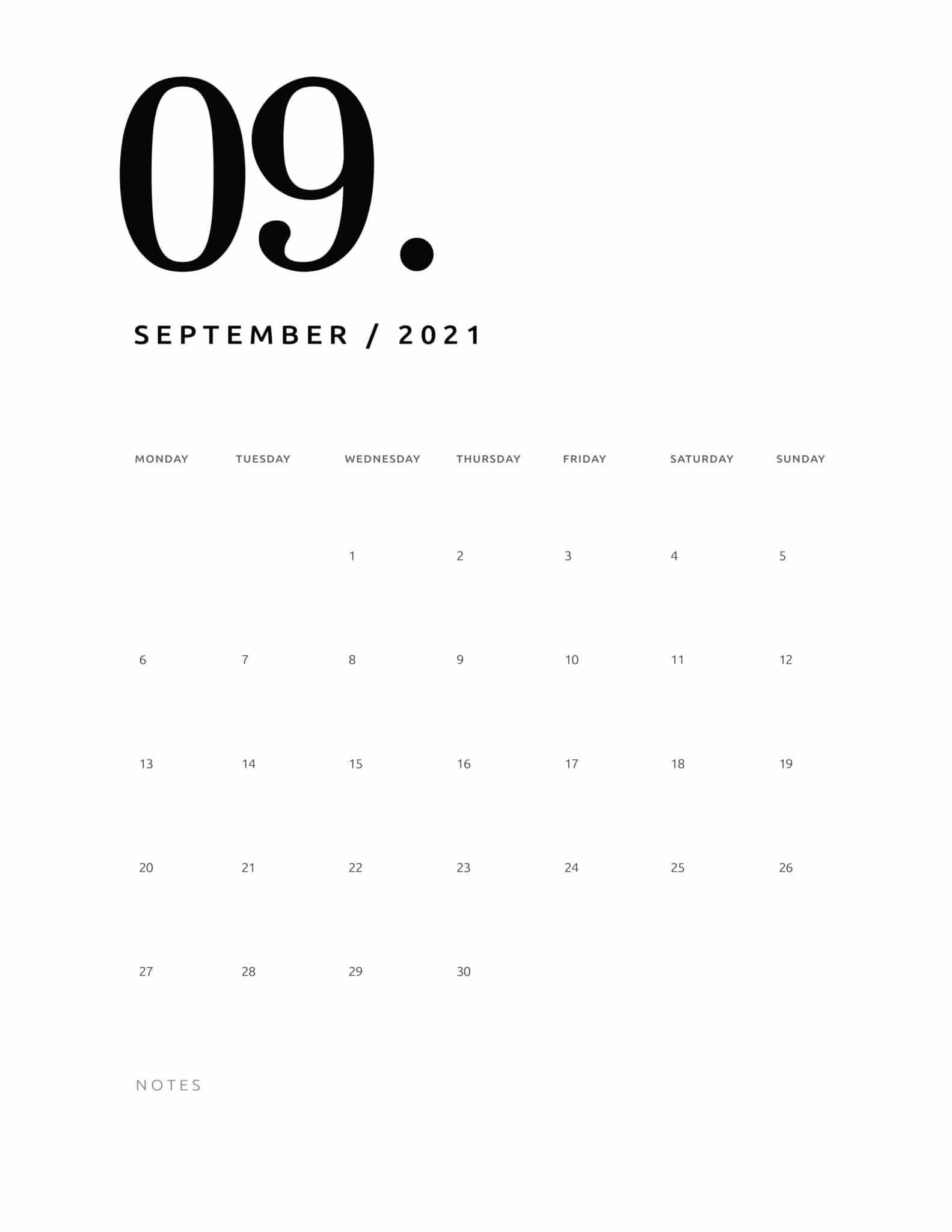 2021 Calendar, Print Calendar, Blank Monthly Calendar Template