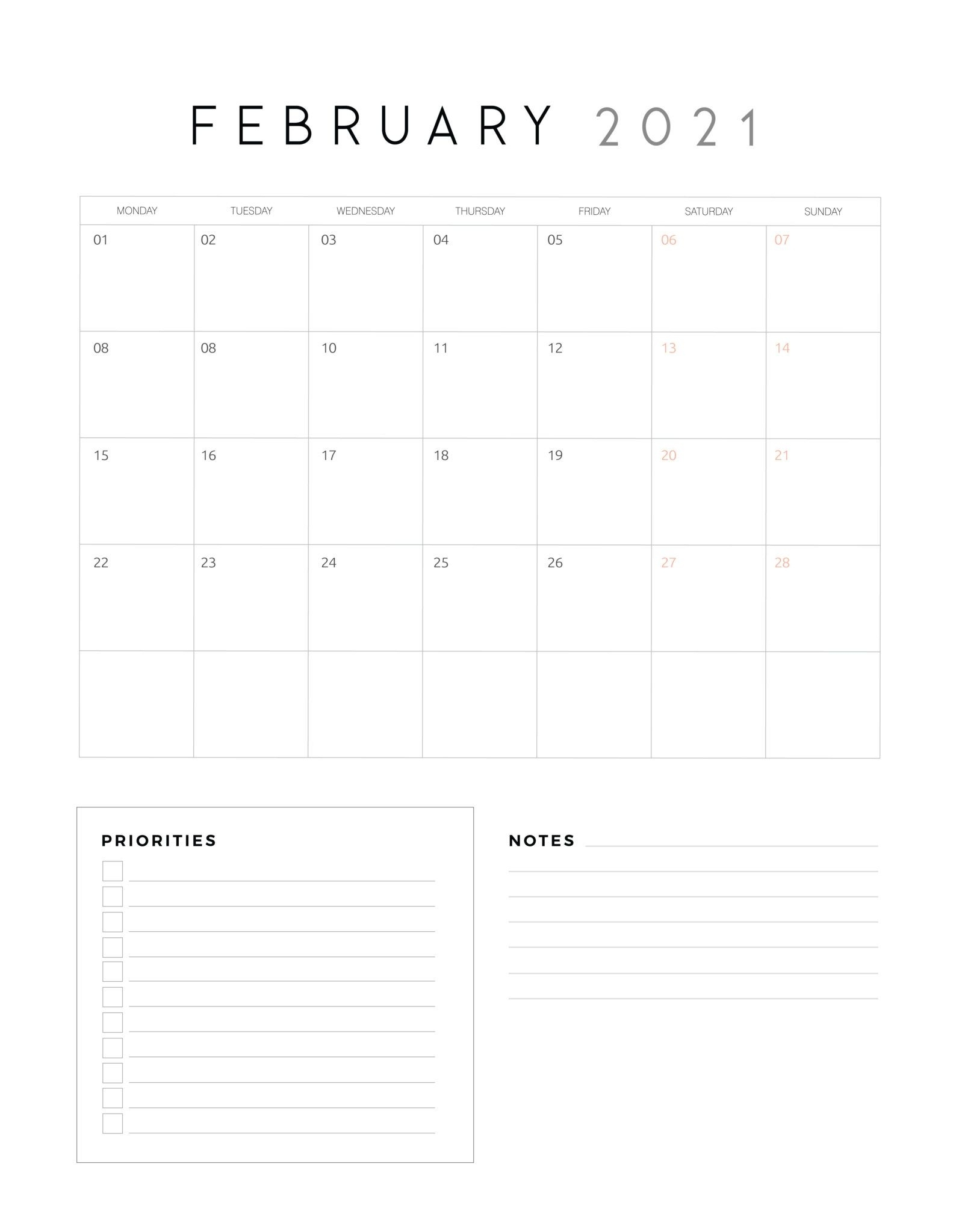 2021 Calendar With Priorities And Notes - World Of