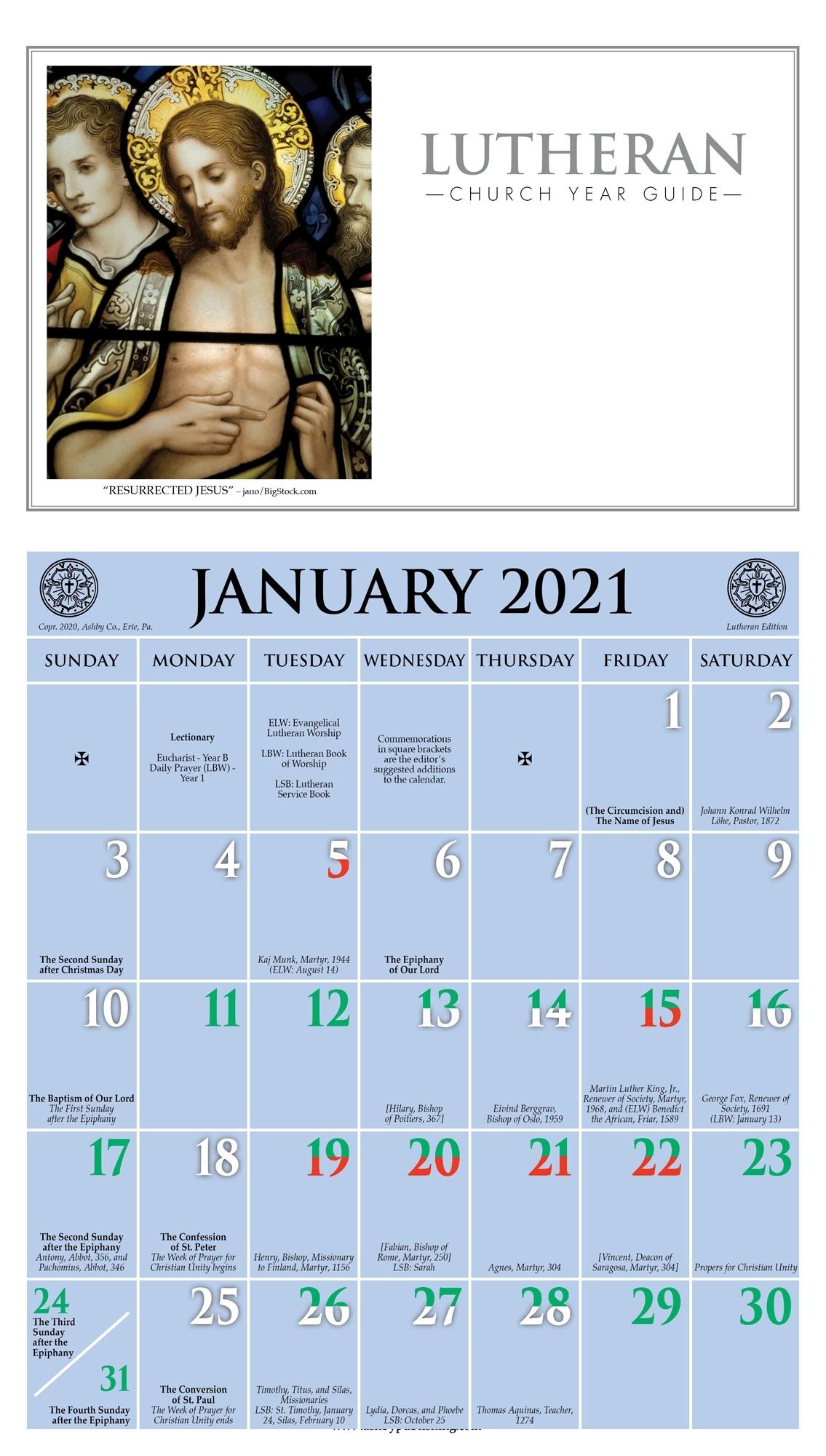 2021 Church Year Calendar