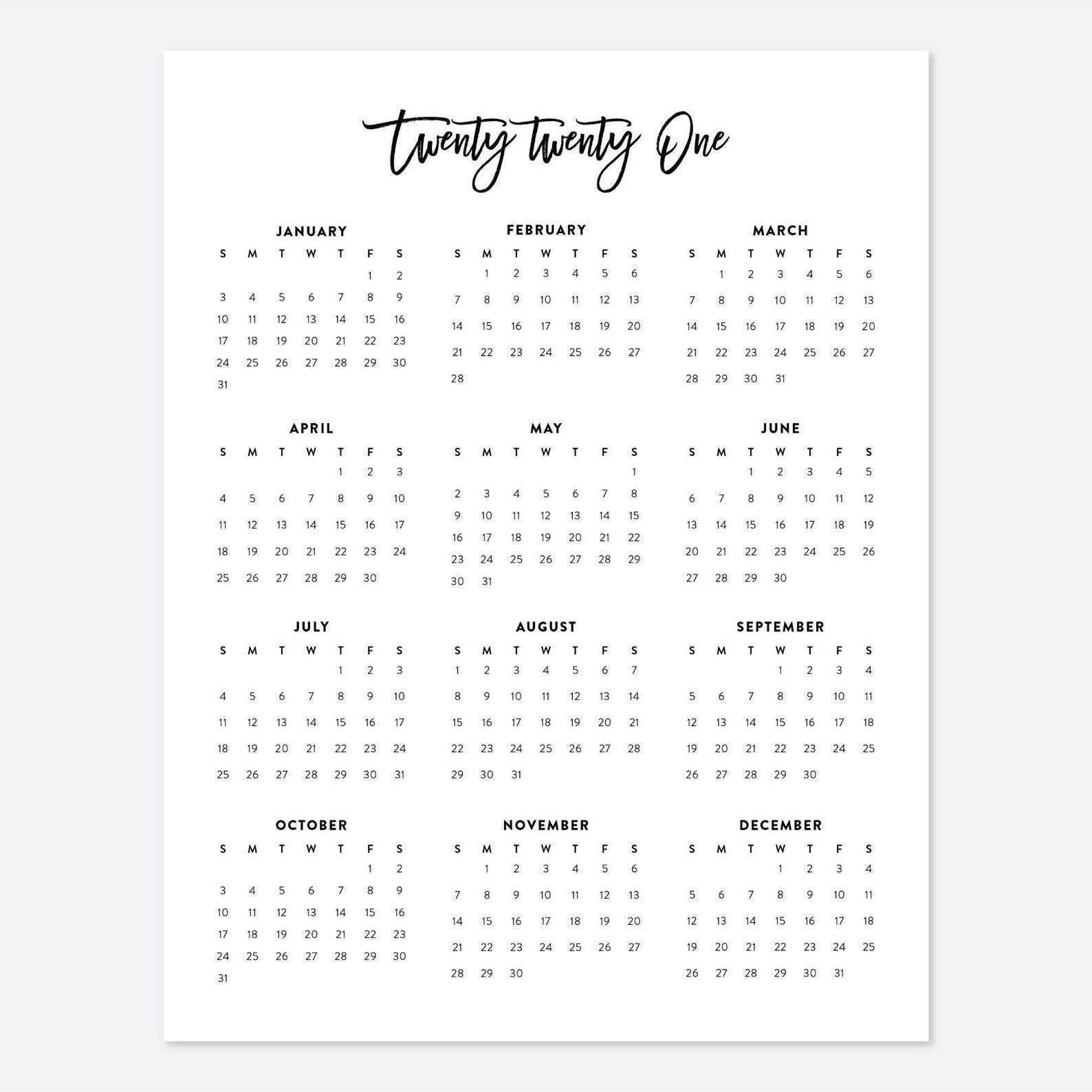 2021 Desk Calendar, Printable Calendar, 2021 Calendar, Year