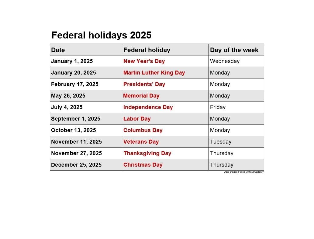 2021 Federal Bank Holidays | 2021Printablecalendar