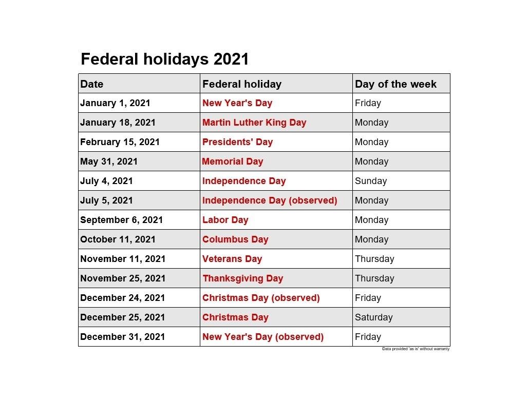 2021 Federal Holidays | 2021Printablecalendar