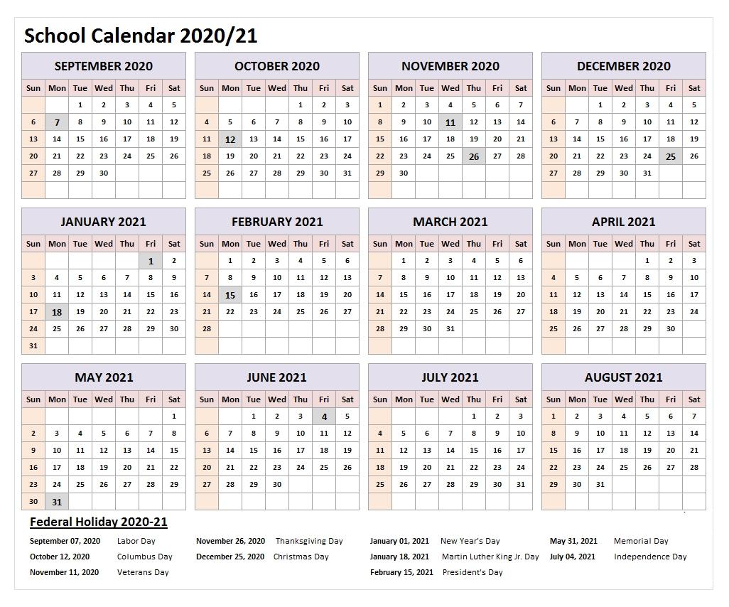 2021 Federal Holidays Calendar In 2020 | School Calendar