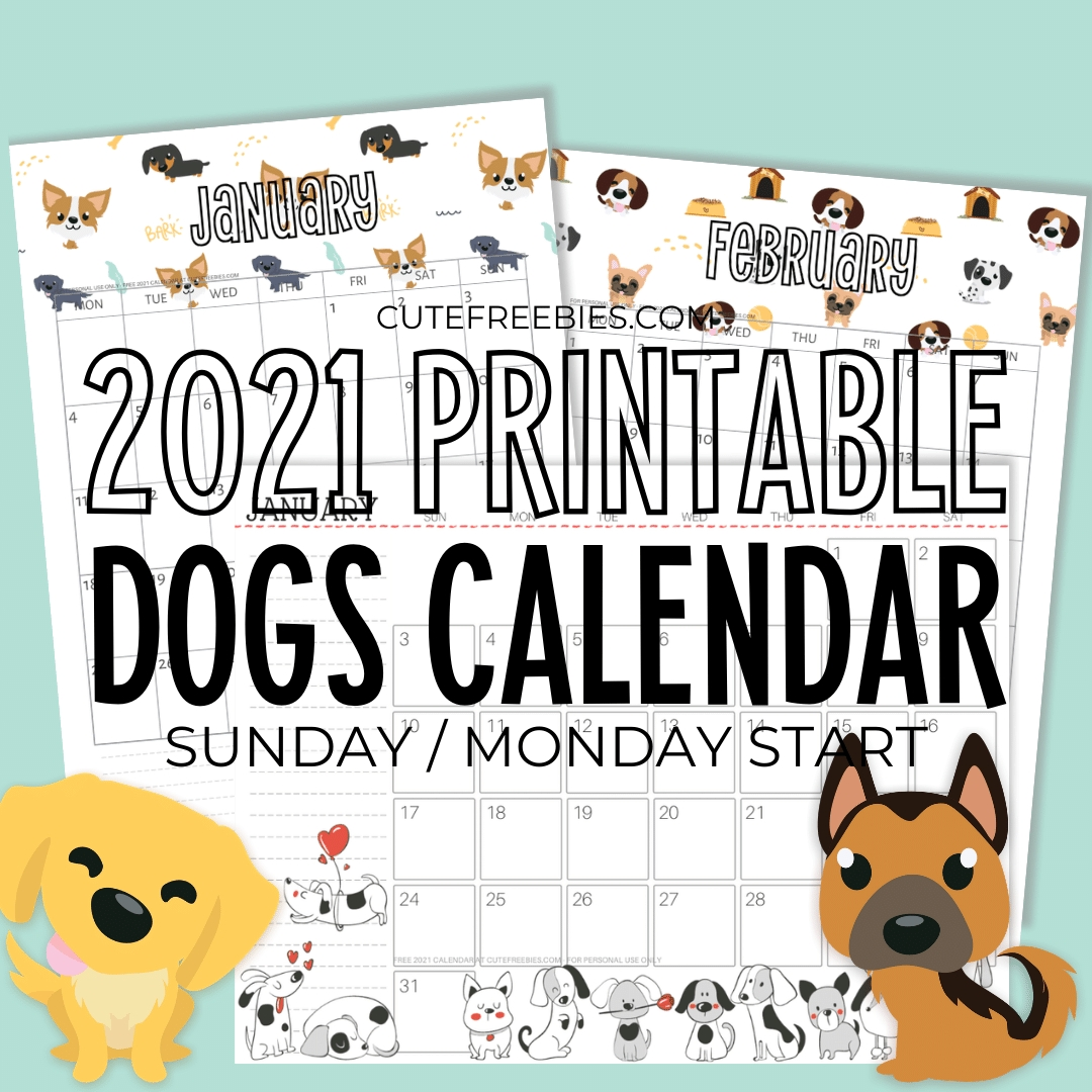 2021 Free Printable Calendar With Dogs For A Happy Year