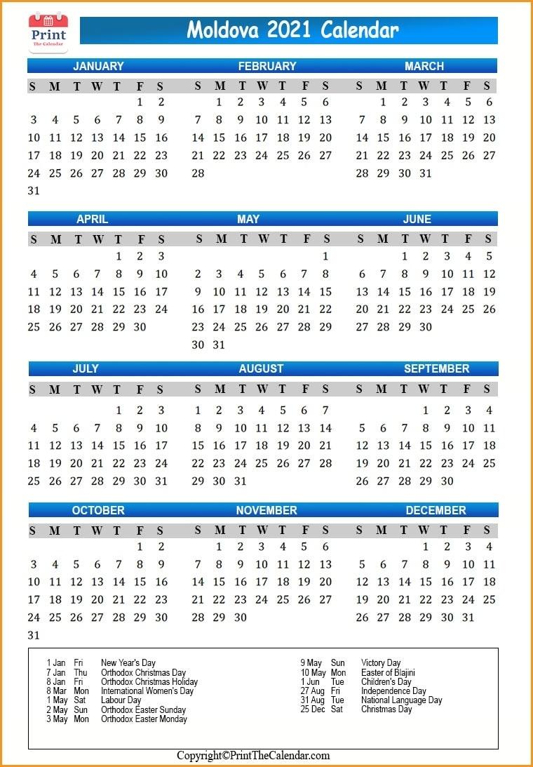 2021 Holiday Calendar Moldova | Moldova 2021 Holidays