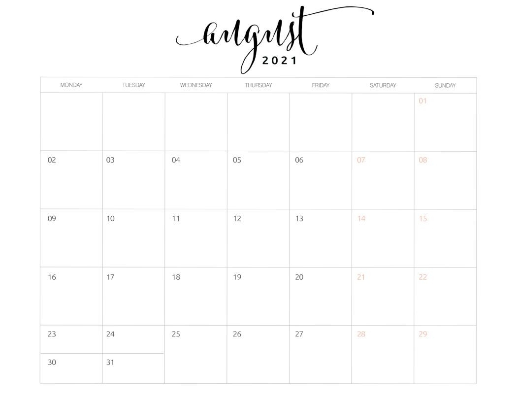 2021 Monthly Calendar Monday Start - World Of Printables In