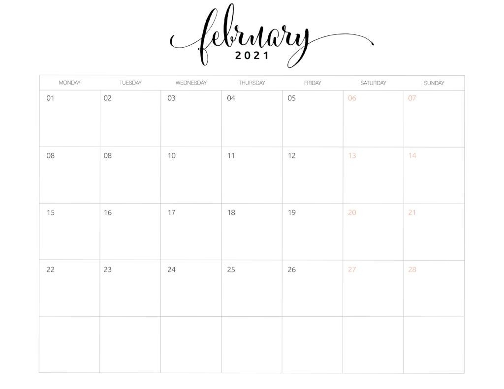 2021 Monthly Calendar Monday Start - World Of Printables