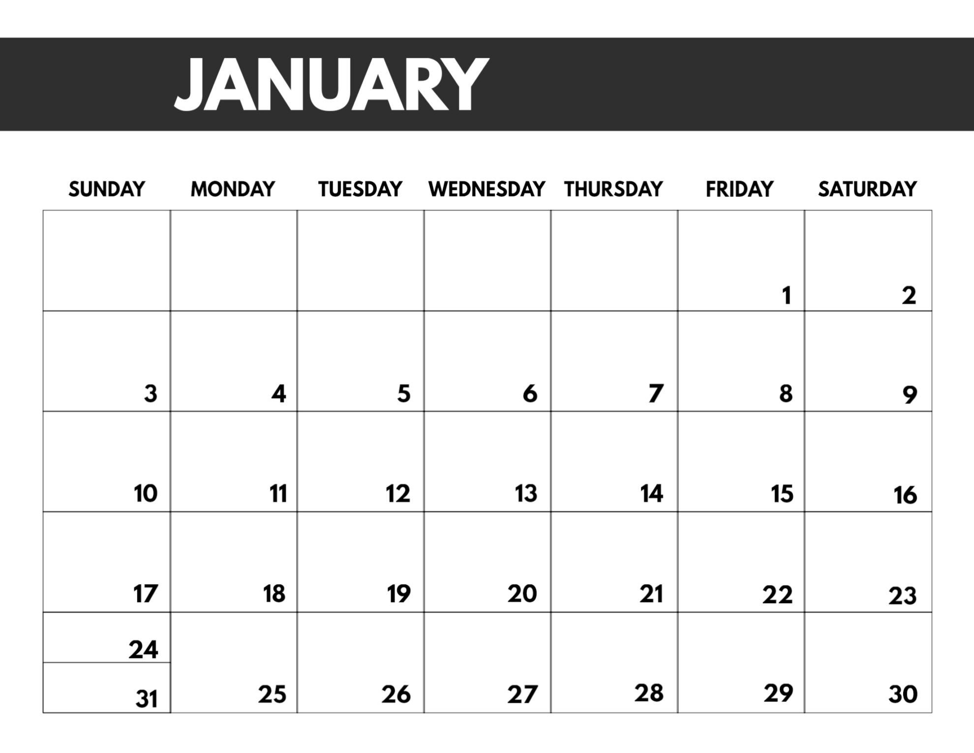 2021 Monthly Calendar Template Big Font Full Page | Monthly