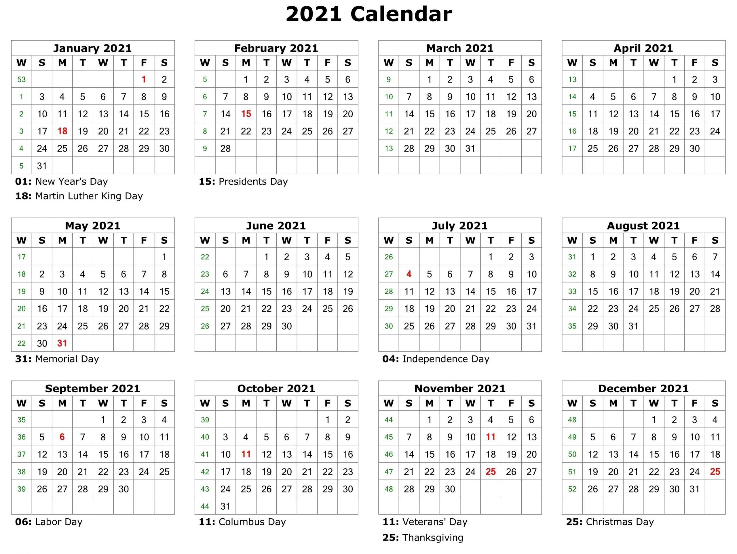 2021 Printable Calendar | Printable Calendar Pdf, Calendar