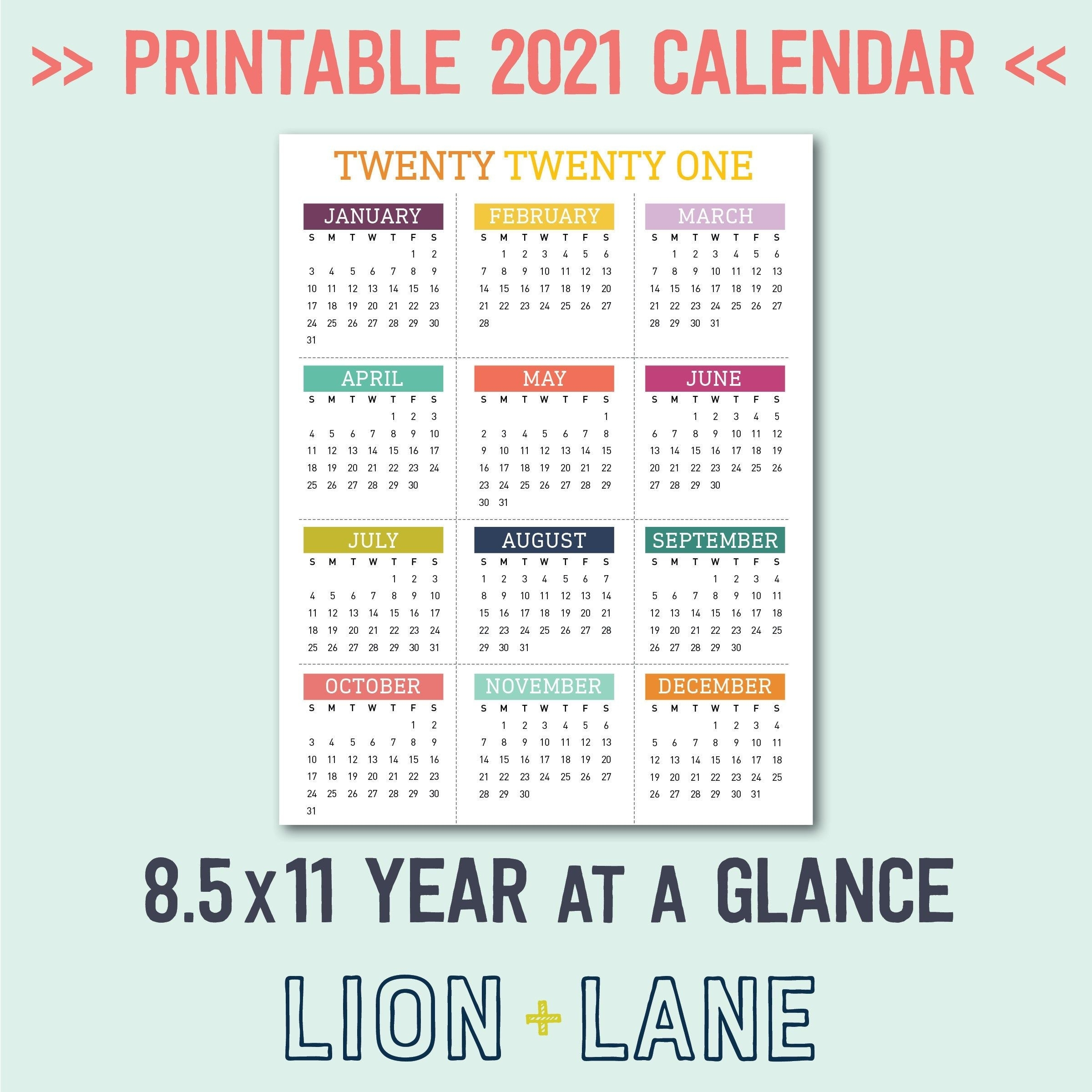 2021 Printable Calendar Year At A Glance 85X11 Letter