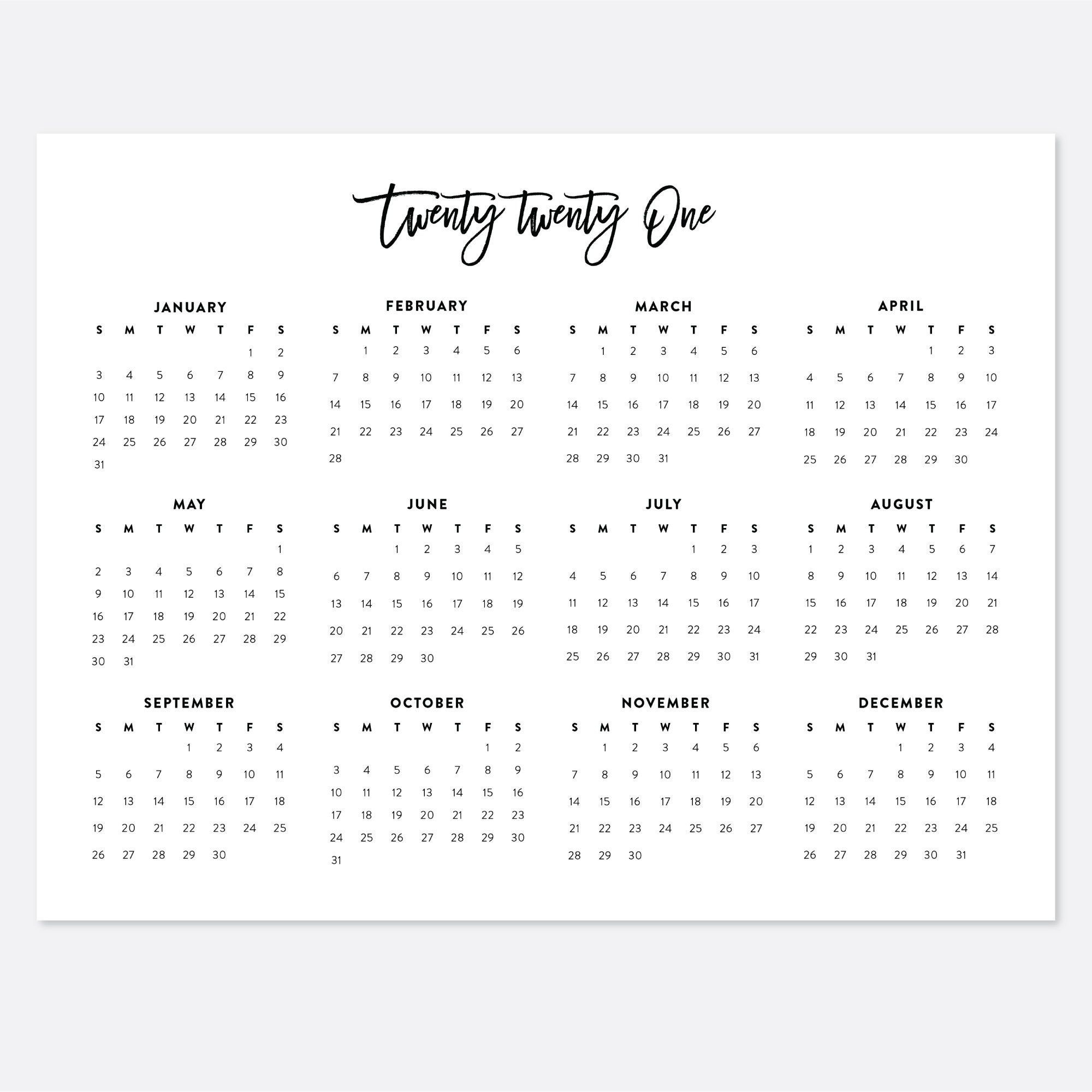 2021 Printable Landscape Desk Calendar 2021 Year Wall | Etsy