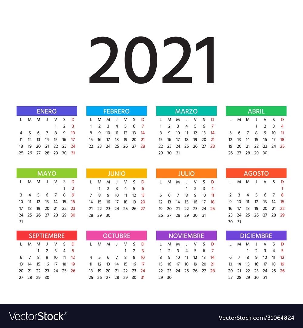 2021 Spanish Calendar Template Layout Year Vector Image