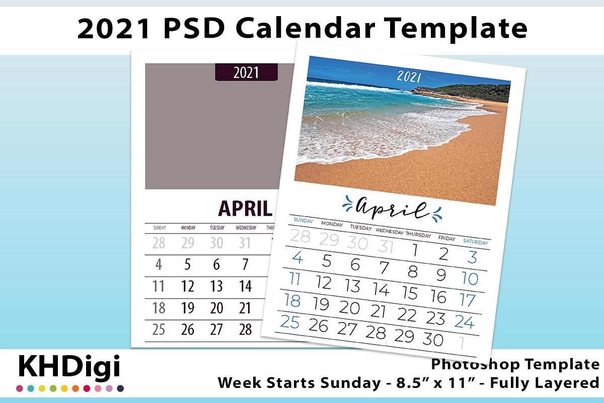 2021 Wall Calendar Template, Sunday