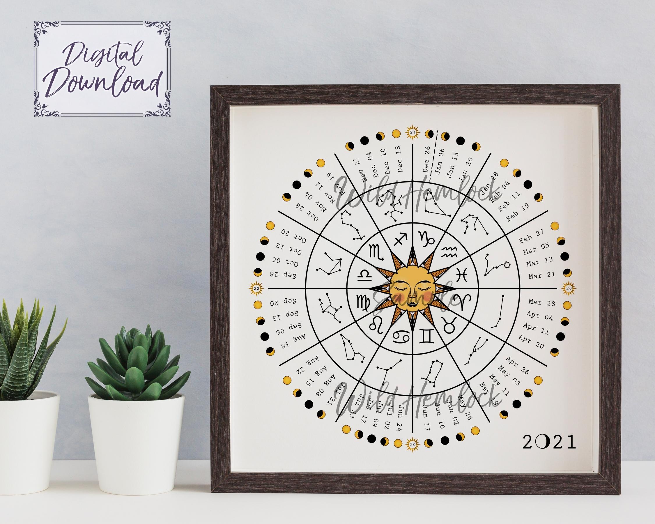 2021 Zodiac Wheel Moon Calendar Astrology Lunar Calendar [Download]