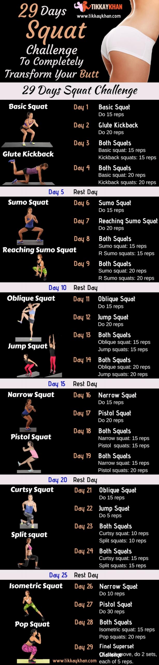 29 Day Squat Challenge For Women 2020 - Tikkay Khan | Squat