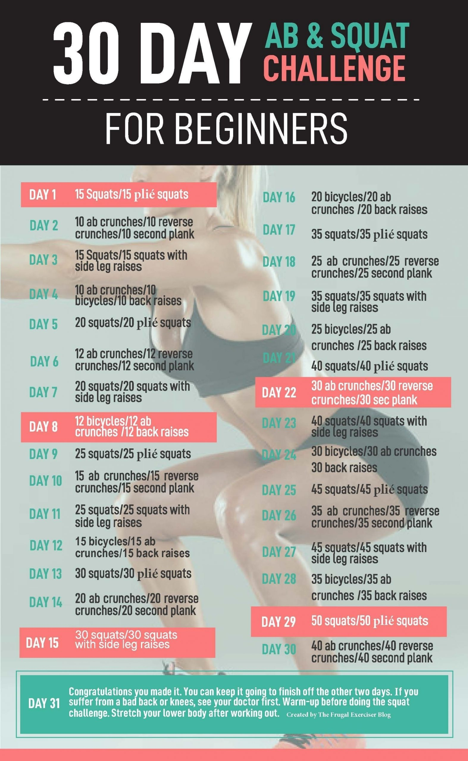 30 Day Ab And Squat Challenge For Beginners | Squat And Ab