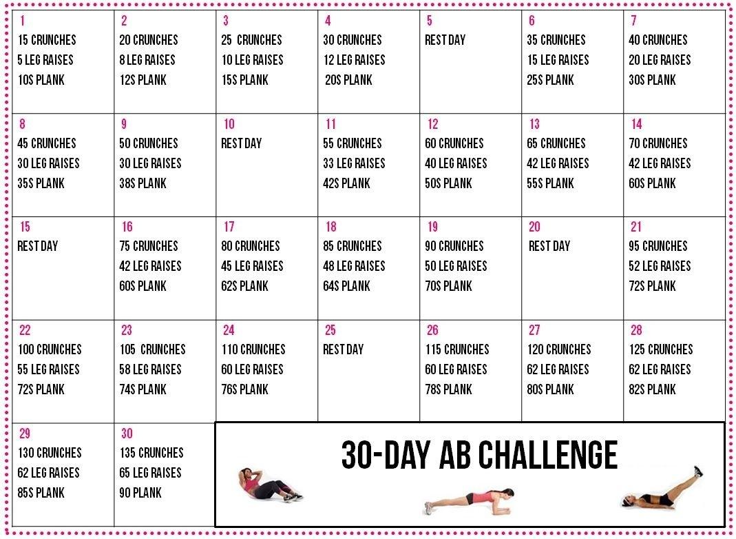 30-Day-Fitness-Calendar 1,069×782 Pixels | Workout